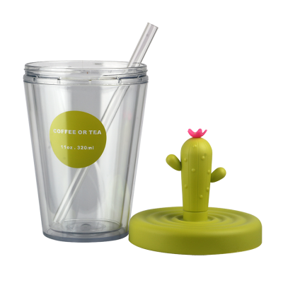 Customized fashionable gift double-deck plastic cup with straw