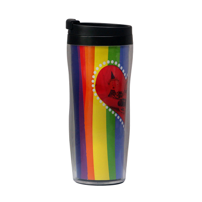 Customized rainbow double-deck plastic travel cups