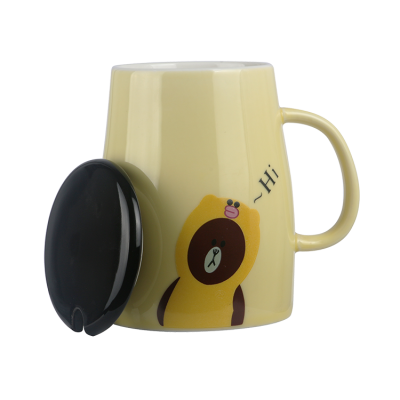 Customized Cute Simple Gift Ceramic Mug With Lid