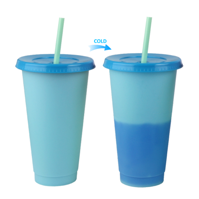 New design hot sale plastic changing color mug plastic cup with straw and lid