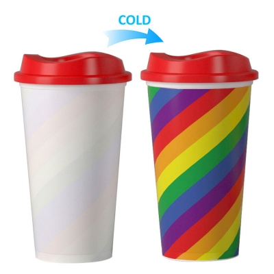 Customized rainbow cold color changing plastic cup
