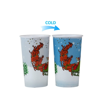 Customized Christmas cold color changing plastic cup